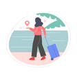girl with suitcase in her hands going to rest on vector image
