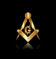 gold freemasonry emblem compass masonic square vector image vector image