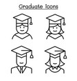 graduate icon set in thin line style vector image