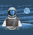 hooded hacker astronaut behind laptop vector image