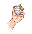 human hand holding glass vector image