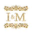 i and m vintage initials logo symbol the letters vector image vector image