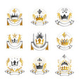 Imperial crowns emblems set heraldic coat of vector image