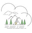 line style landscape mountain vector image