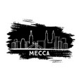 mecca saudi arabia city skyline silhouette hand vector image vector image