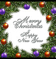new year christmas greeting inscription postcard vector image vector image