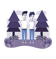 nice man friends with pine trees vector image