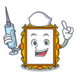 nurse picture frame character cartoon vector image vector image