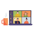 online virtual remote meeting on laptop screen vector image