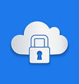 paper cut cloud computing lock icon isolated on vector image vector image