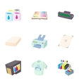 Print icons set cartoon style vector image vector image