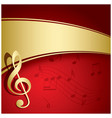 red background with gold decorations - music vector image