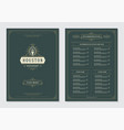 restaurant menu design and logo brochure vector image vector image