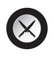 round black white icon - crossed kitchen knives vector image