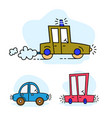 set funny cartoon colorful cars vector image