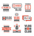 set logotypes for video bloggers vector image vector image