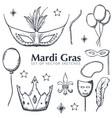 set of mardi gras elements masquerade fat vector image