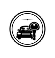 silhouette stamp with car and key vector image vector image