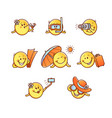 summer beach vacation smiley set - emoticons with vector image vector image