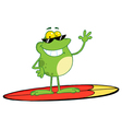 surfer frog waving vector image vector image