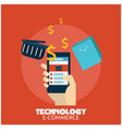 technology e-commerce hand holding smartphone back vector image