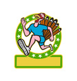 Turkey Run Runner Side Cartoon vector image vector image