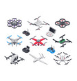 unmanned aircraft delivery drone with propellers vector image