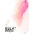 watercolor alcohol ink card liquid pink flow vector image vector image