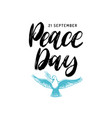 world peace day poster with handwritten font vector image vector image