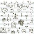 Birthday elements Hand drawn set with birthday vector image