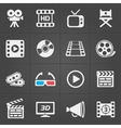 Cinema icons on black background vector image