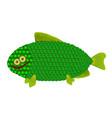 fun funny green fish vector image