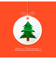 modern flat card with origami pine tree on vector image