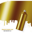 golden graffiti spray paint can with splash vector image