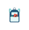 blue backpack with school supplies isolated on vector image vector image