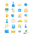 Blue yellow economy icons set vector image