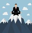 Businessman meditating on a Mountain peak vector image
