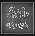 calligraphy lettering of enjoy the little things vector image