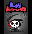 cartoon of spooky halloween death with scythe vector image vector image