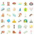 city building icons set cartoon style vector image vector image