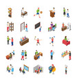 college and university students flat icons set vector image vector image