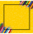 colored pencils on yellow background vector image vector image