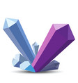 Crystals in flat style on white background vector image