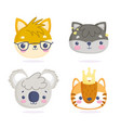 cute animals little cartoon characters faces cat vector image vector image