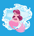 cute fairy mermaid little girl with pink fish vector image vector image