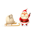 cute santa claus with sleight and gift bag vector image