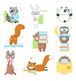 cute wild animals reading books icon set vector image vector image