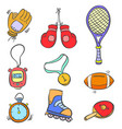 doodle of sport equipment object various vector image vector image