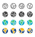 earth and globe icon set vector image vector image