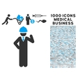 Engineer Icon with 1000 Medical Business vector image vector image